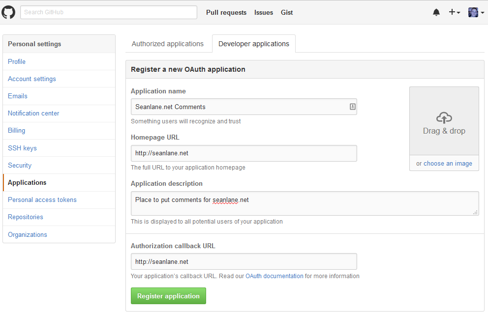 Adding a new OAUTH Application in Github