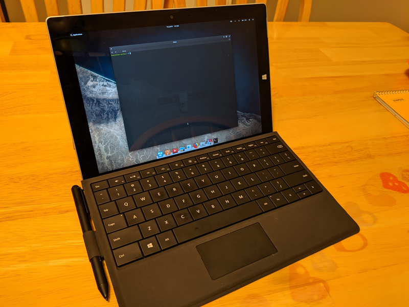 Action Shot of the Surface 3 running Elementary OS